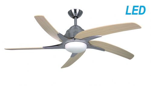 "Fantasia Elite Viper Plus 54"" Stainless Steel Ceiling Fan + Remote Control +  LED Light 116080"
